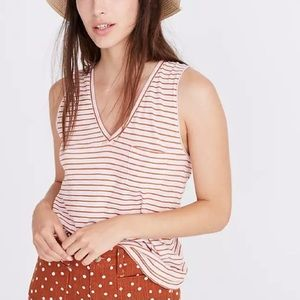 Madewell Whisper Cotton V-Neck Tank Top NWT Size S